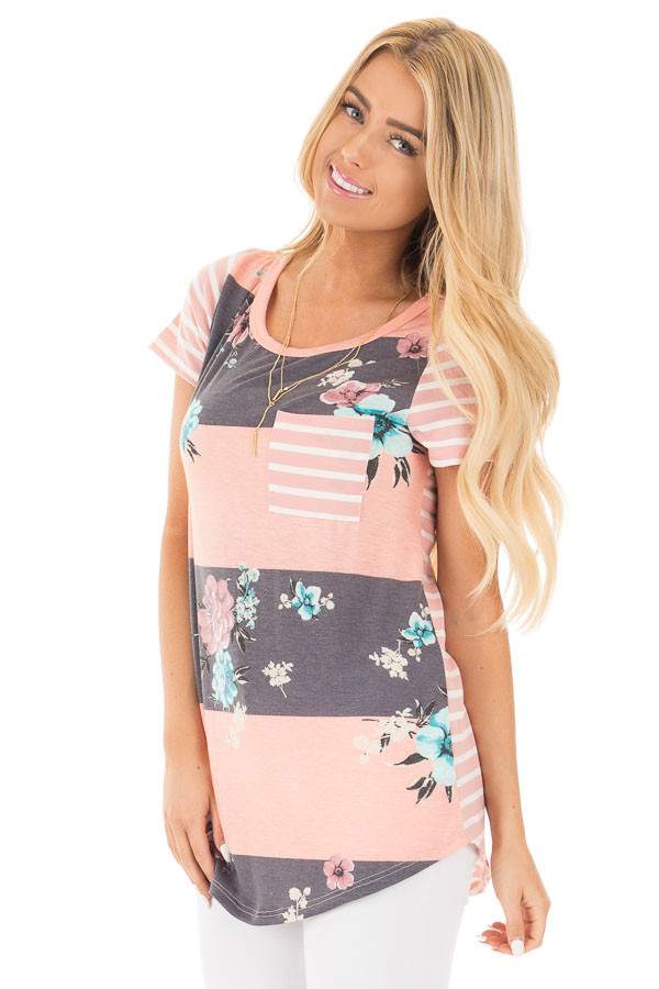 Blush Stripe Floral Print Short Sleeve Top with Pocket front close up