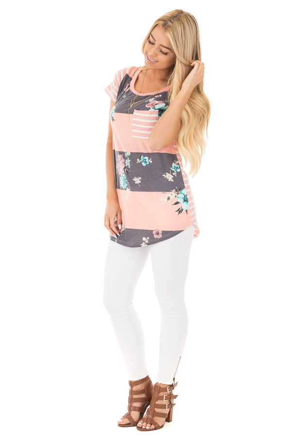 Blush Stripe Floral Print Short Sleeve Top with Pocket front full body