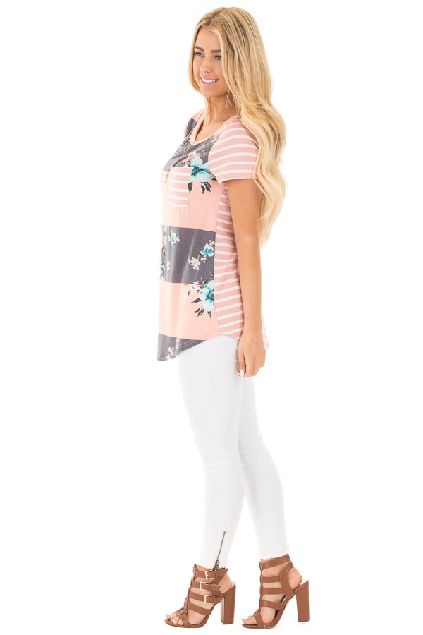 Blush Stripe Floral Print Short Sleeve Top with Pocket side full body