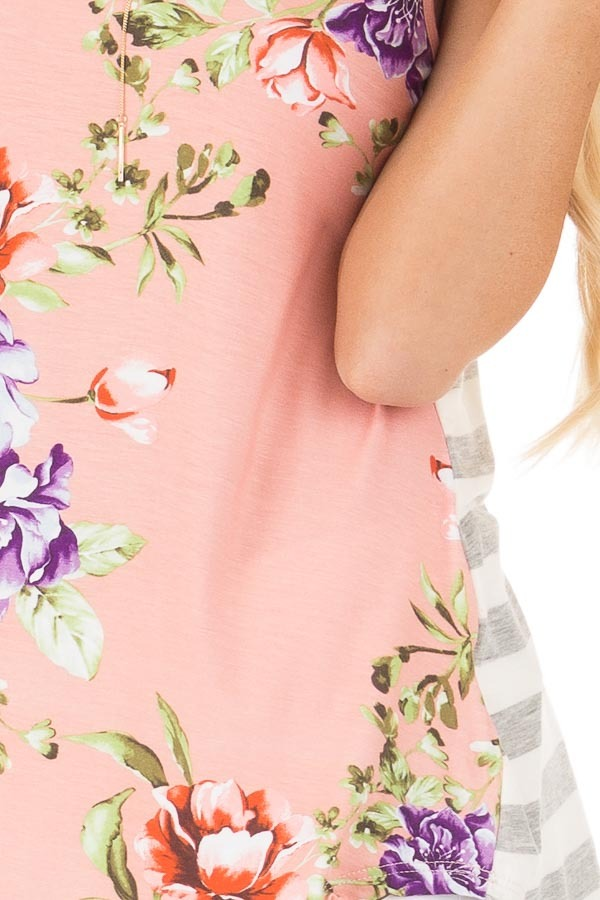 Blush Floral Print Sleeveless Top with Striped Back Contrast detail