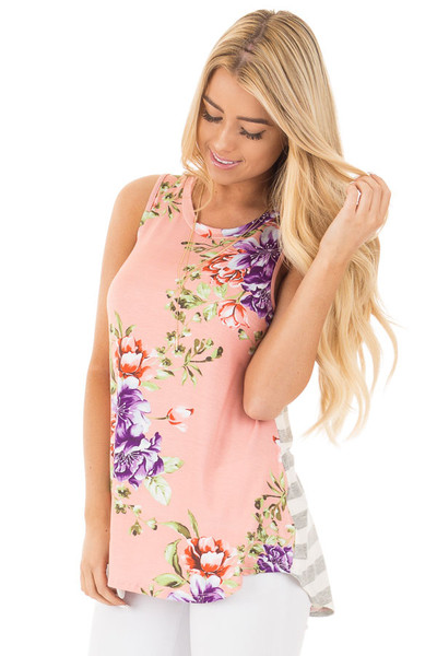 Blush Floral Print Sleeveless Top with Striped Back Contrast front close up