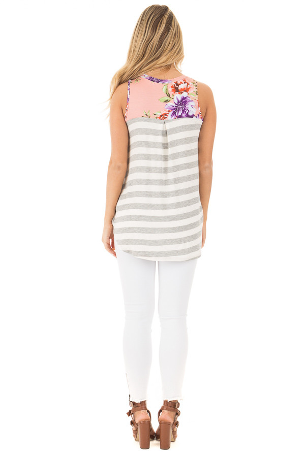 Blush Floral Print Sleeveless Top with Striped Back Contrast back full body
