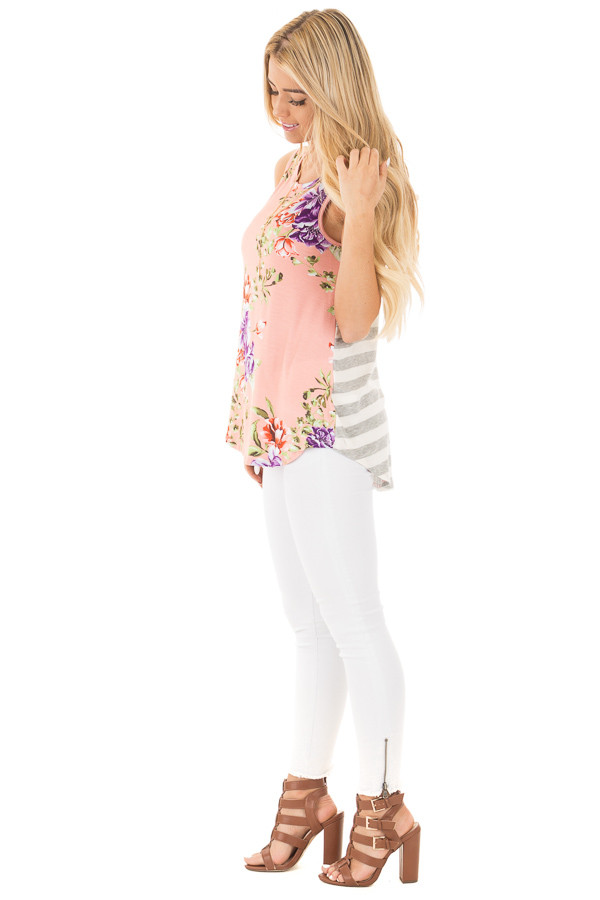 Blush Floral Print Sleeveless Top with Striped Back Contrast side full body