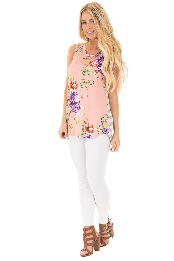 Blush Floral Print Sleeveless Top with Striped Back Contrast front full body