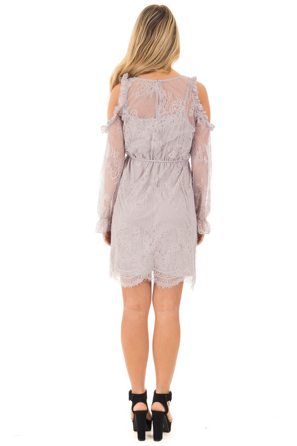 Dusty Grey Cold Shoulder Lace Dress with Gathered Waist back full body