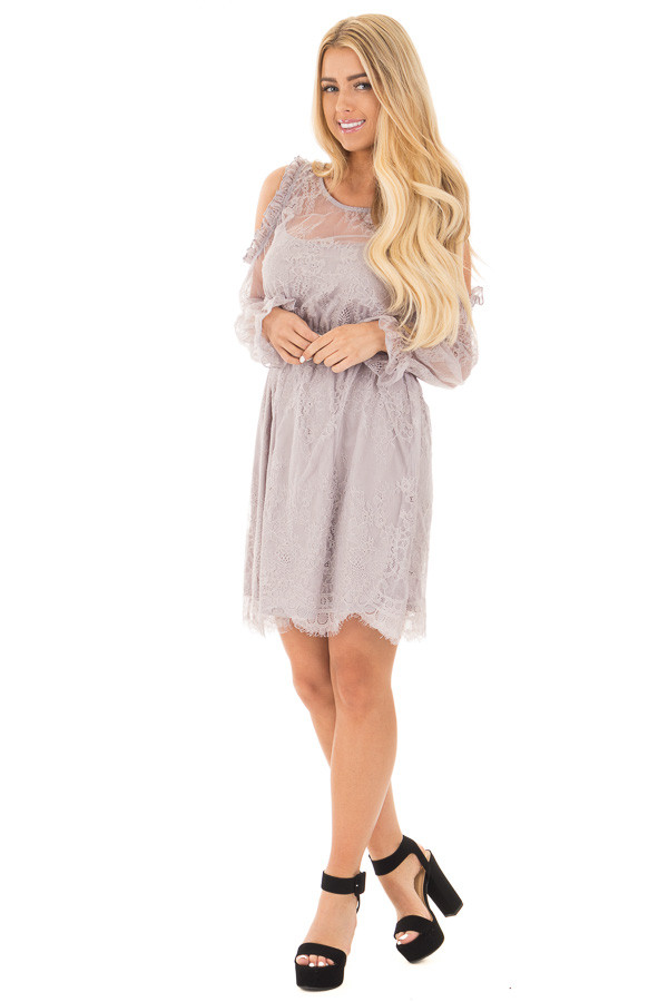 Dusty Grey Cold Shoulder Lace Dress with Gathered Waist front full body
