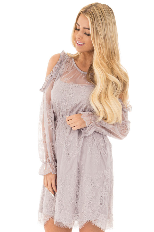 Dusty Grey Cold Shoulder Lace Dress with Gathered Waist front close up