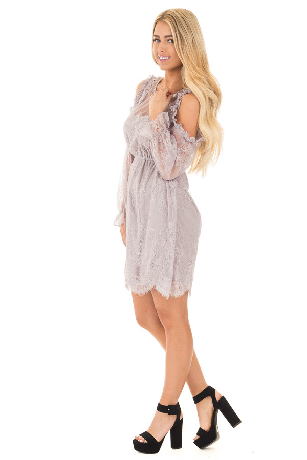 Dusty Grey Cold Shoulder Lace Dress with Gathered Waist side full body