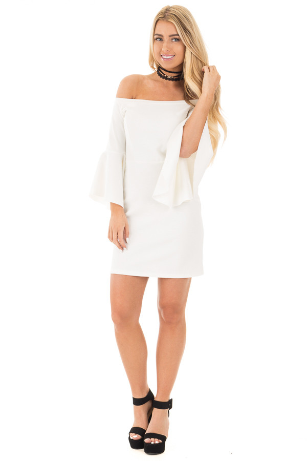 Ivory Off the Shoulder Dress with Tapered Bell Sleeves front full body