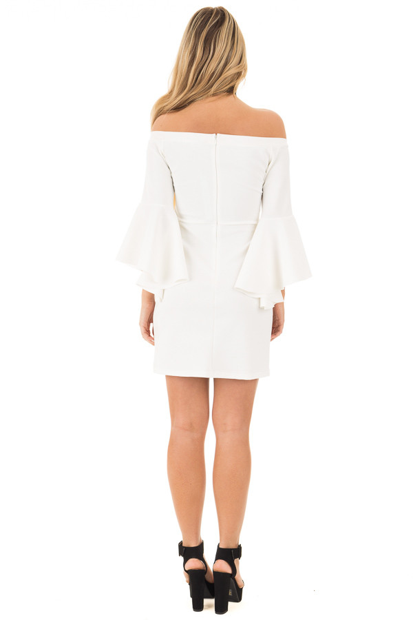 Ivory Off the Shoulder Dress with Tapered Bell Sleeves back full body
