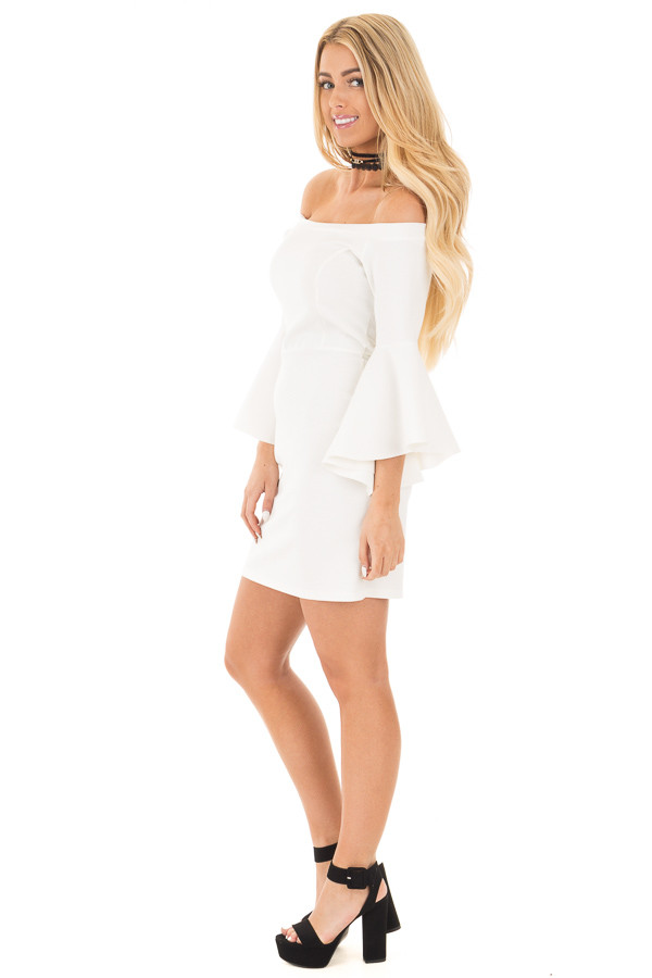 Ivory Off the Shoulder Dress with Tapered Bell Sleeves side full body