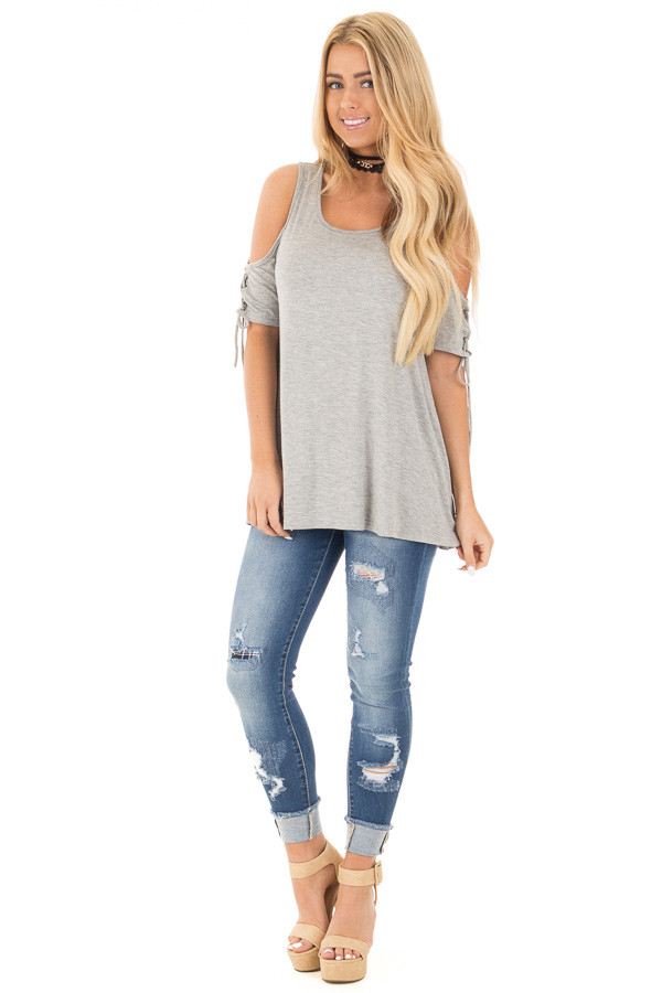 Smokey Grey Cold Shoulder Lace-up Sleeve Tee front full body