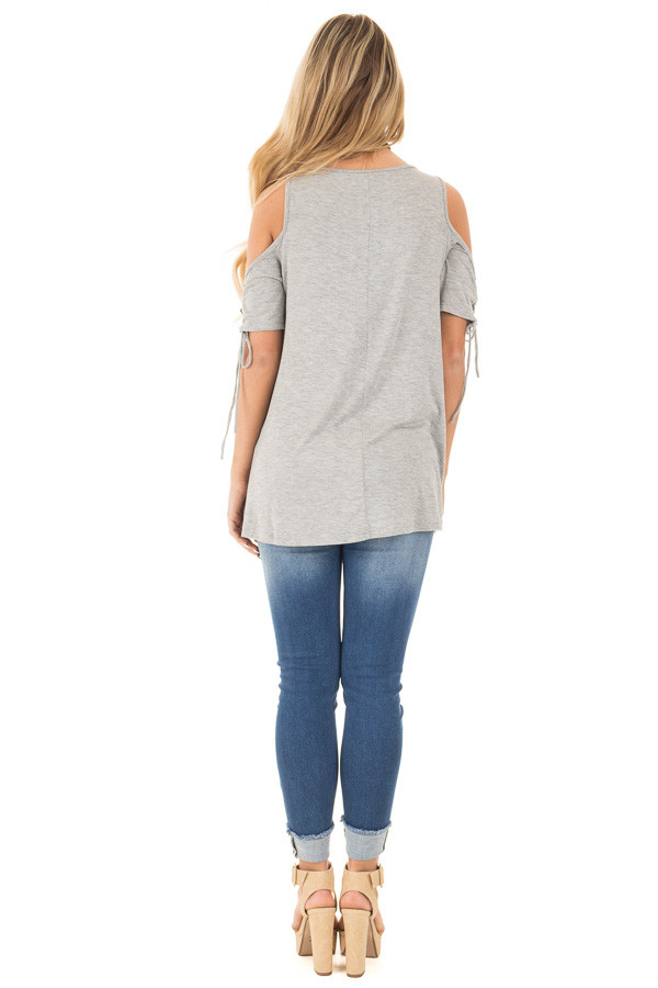 Smokey Grey Cold Shoulder Lace-up Sleeve Tee back full body