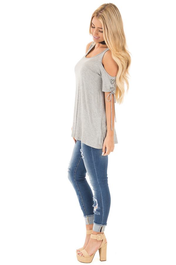 Smokey Grey Cold Shoulder Lace-up Sleeve Tee side full body