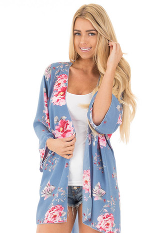Dusty Blue and Rose Floral Print Long Kimono front close up