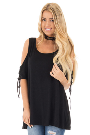 Black Cold Shoulder Lace-up Sleeve Tee front close up