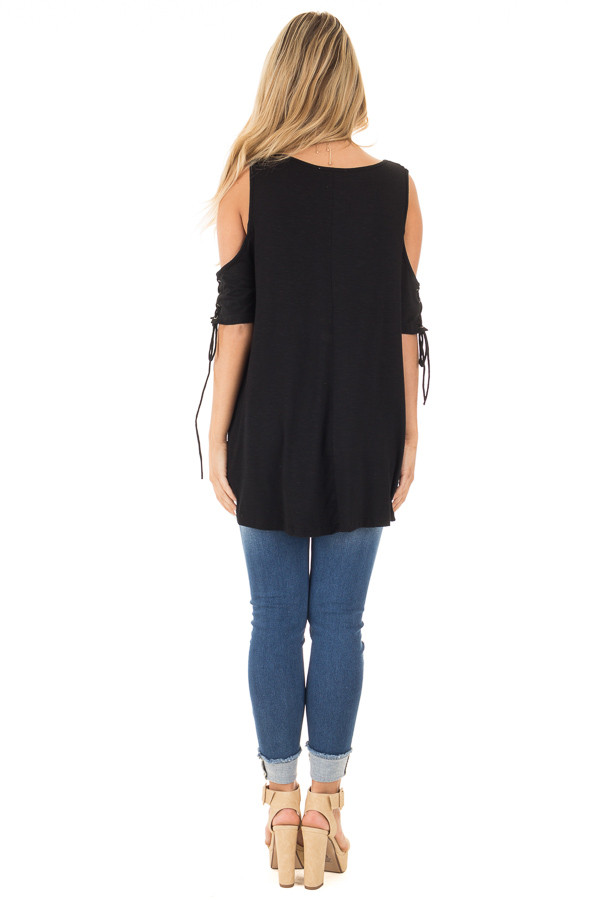 Black Cold Shoulder Lace-up Sleeve Tee back full body
