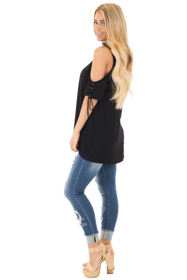 Black Cold Shoulder Lace-up Sleeve Tee side full body