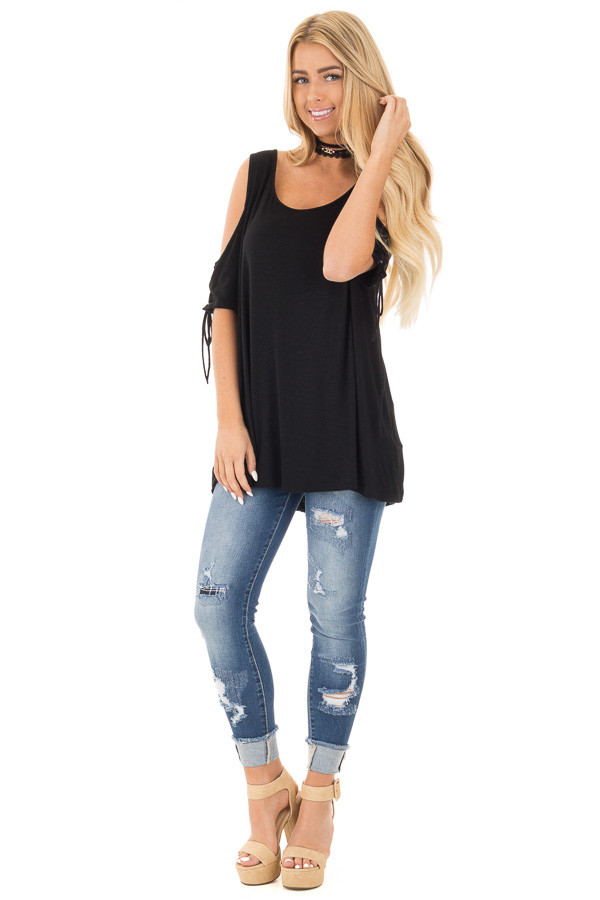 Black Cold Shoulder Lace-up Sleeve Tee front full body