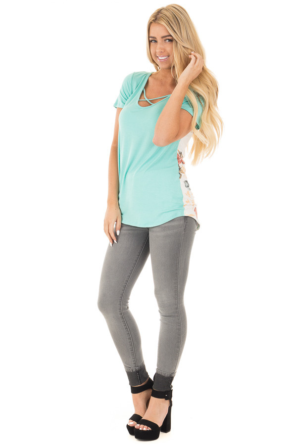 Aqua Short Sleeve Criss Cross Top with Floral Print Back front full body