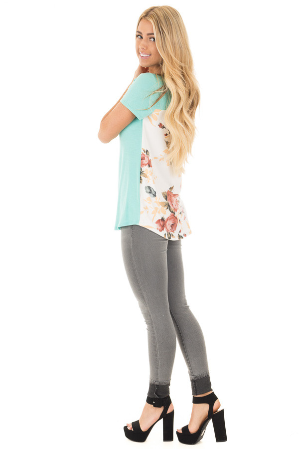 Aqua Short Sleeve Criss Cross Top with Floral Print Back side full body