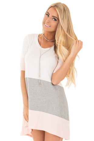 Blush and Ivory Color Block Tunic Dress with Half Sleeves front close up