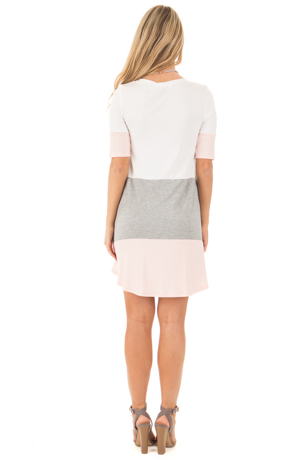 Blush and Ivory Color Block Tunic Dress with Half Sleeves back full body