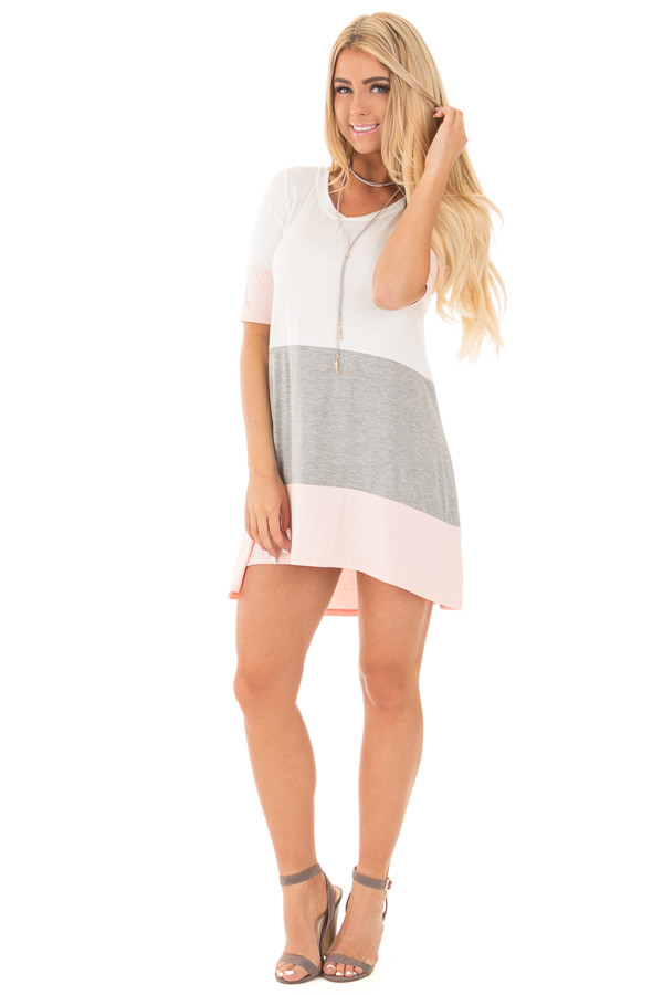 Blush and Ivory Color Block Tunic Dress with Half Sleeves front full body