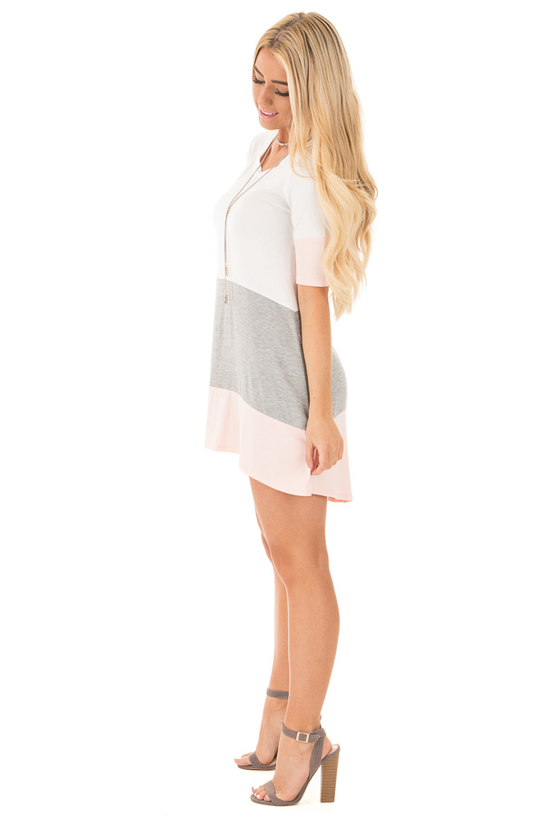 Blush and Ivory Color Block Tunic Dress with Half Sleeves side full body