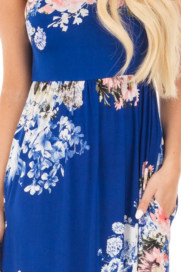 Royal Blue Floral Slinky Racerback Maxi Dress with Pockets detail