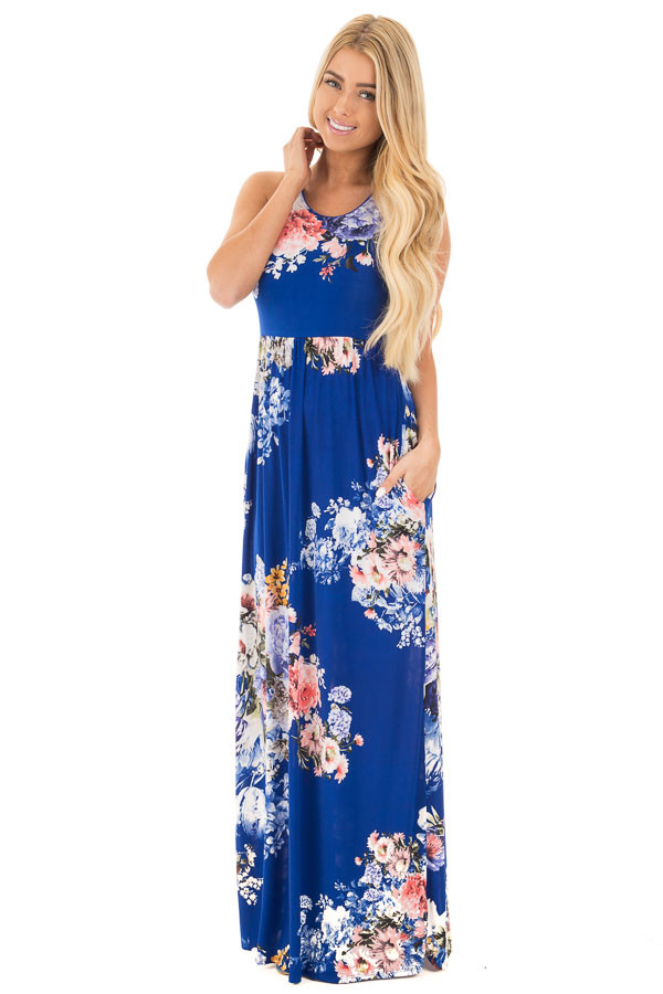 Royal Blue Floral Print Racerback Maxi Dress | Lime Lush