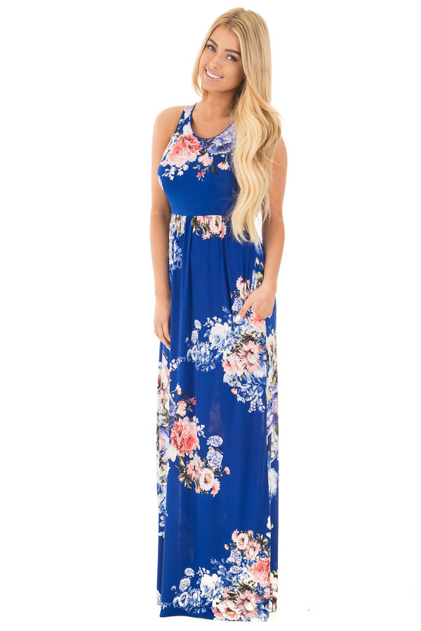 Royal Blue Floral Slinky Racerback Maxi Dress with Pockets front full body