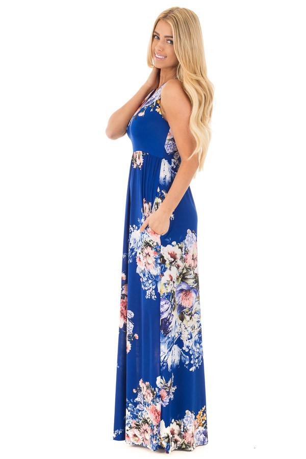 Royal Blue Floral Slinky Racerback Maxi Dress with Pockets side full body