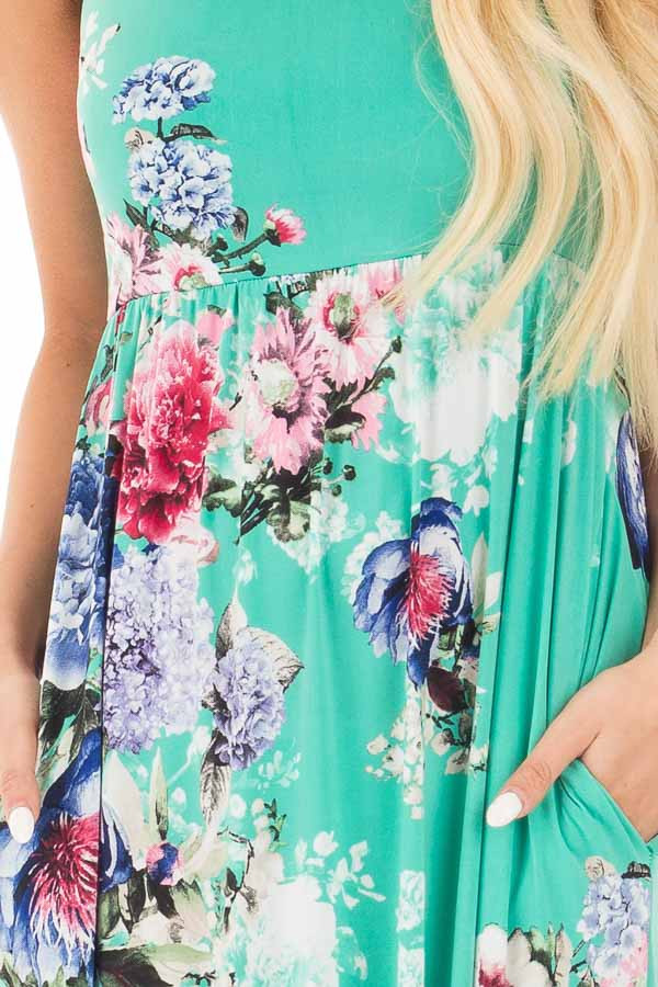Aqua Floral Slinky Racerback Maxi Dress with Side Pockets detail