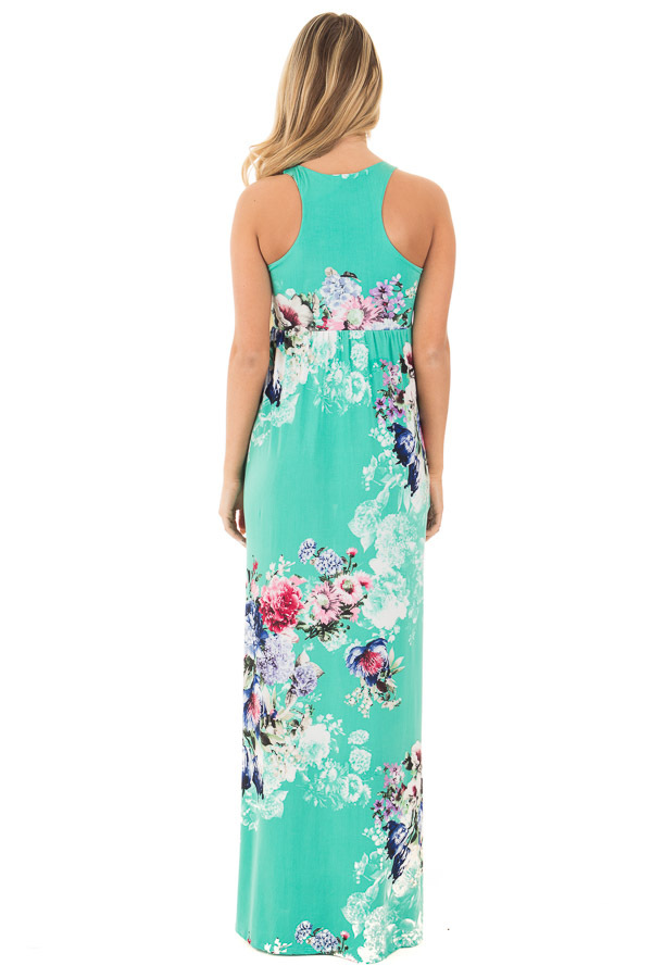 Aqua Floral Slinky Racerback Maxi Dress with Side Pockets back full body