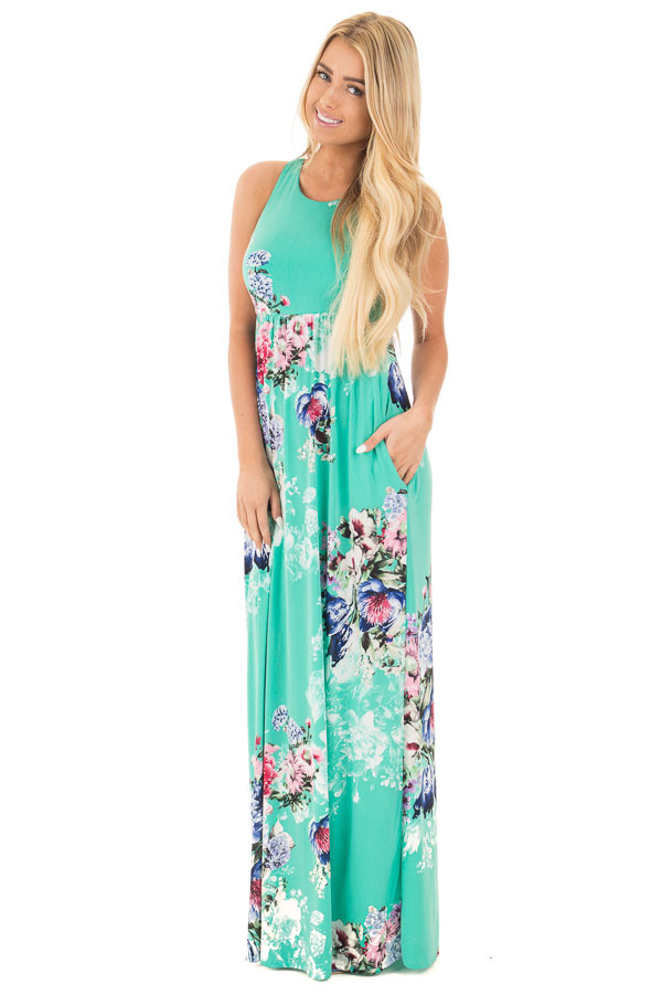 Aqua Floral Slinky Racerback Maxi Dress with Side Pockets front full body