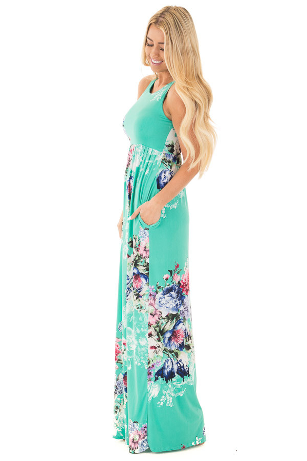 Aqua Floral Slinky Racerback Maxi Dress with Side Pockets side full body