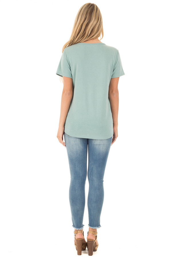 New Sage Super Soft Embroidered Tee with Neck Detail back full body