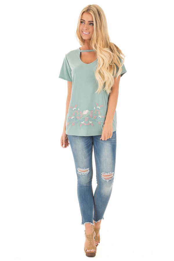 New Sage Super Soft Embroidered Tee with Neck Detail front full body