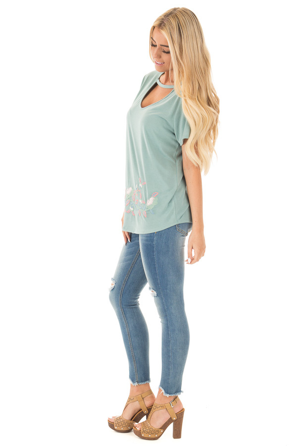 New Sage Super Soft Embroidered Tee with Neck Detail side full body