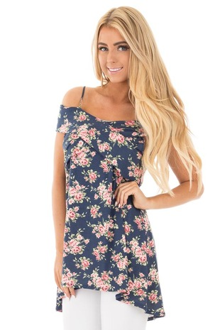 Navy and Blush Floral Print Cold Shoulder Comfy Top front close up