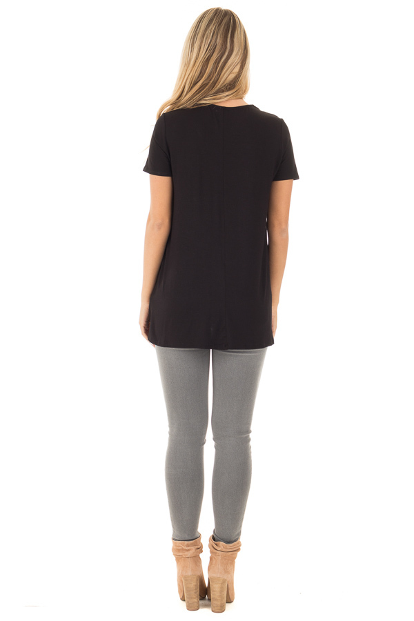 Black Soft Bamboo Jersey Knit Top with Criss Cross Neckline back full body