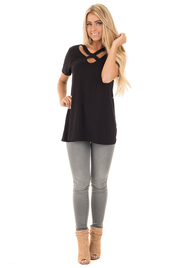 Black Soft Bamboo Jersey Knit Top with Criss Cross Neckline front full body