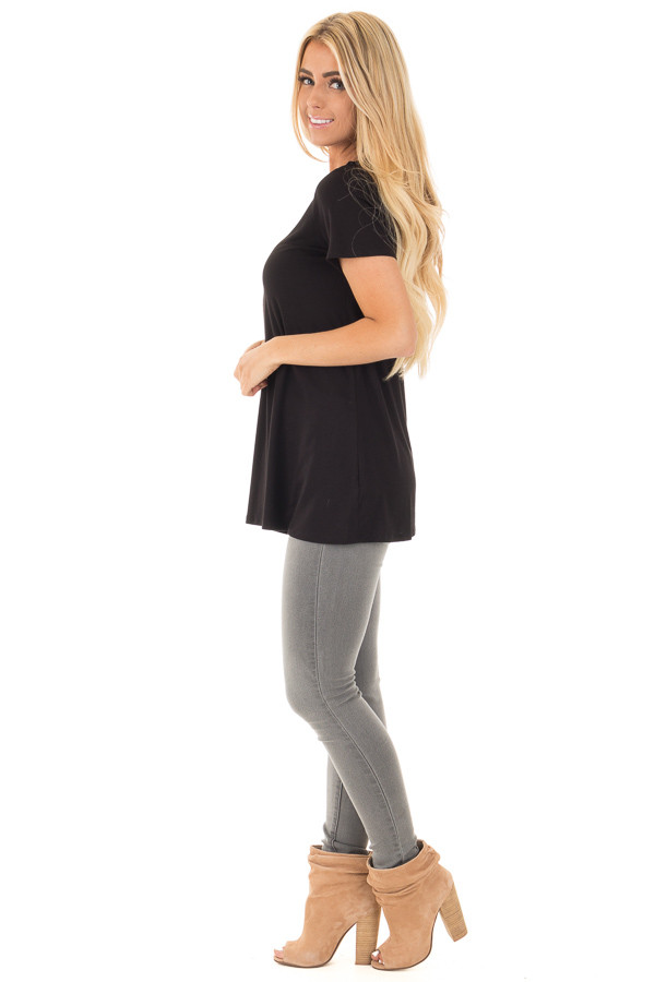 Black Soft Bamboo Jersey Knit Top with Criss Cross Neckline side full body