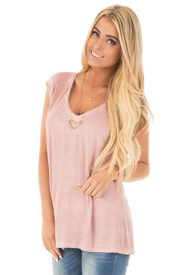 Mauve Mineral Wash Cap Sleeve Tee with Twisted Neckline front close up