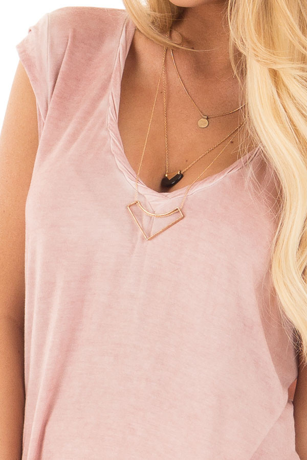 Mauve Mineral Wash Cap Sleeve Tee with Twisted Neckline detail
