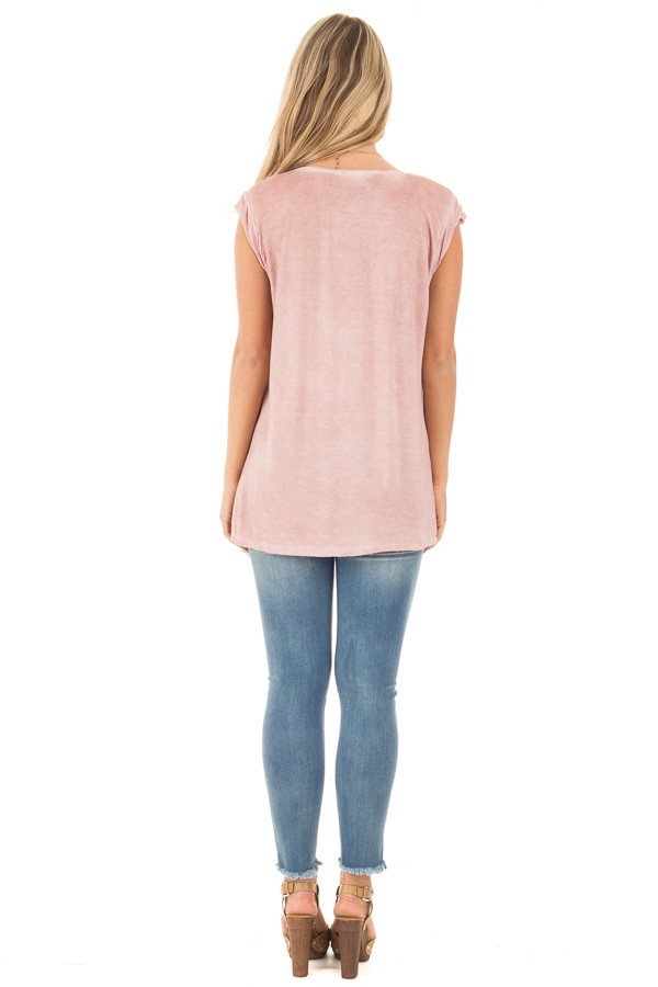 Mauve Mineral Wash Cap Sleeve Tee with Twisted Neckline back full body