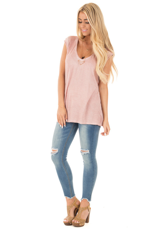 Mauve Mineral Wash Cap Sleeve Tee with Twisted Neckline front full body