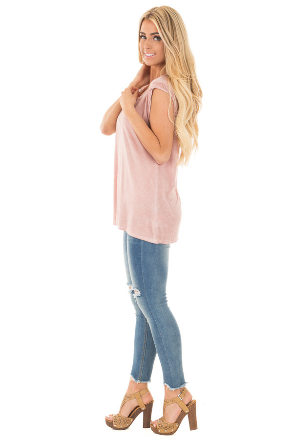 Mauve Mineral Wash Cap Sleeve Tee with Twisted Neckline side full body