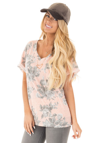 Light Peach Two Tone Floral V Neck Short Sleeve Tee front close up